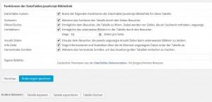 TablePress Zusatzfunktionen für bessere Usability