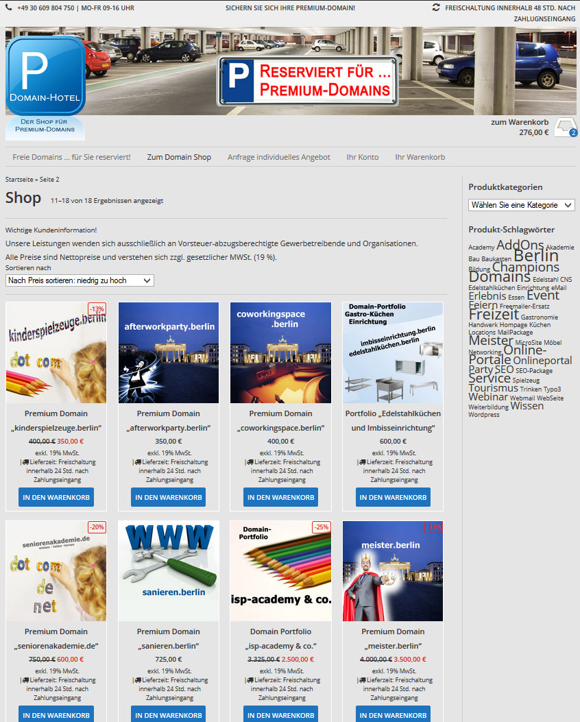 Beispiel: parkhaus.domain-hotel.de Onlineshop für Premium-Domains