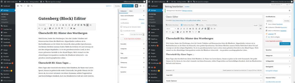 Gegenüberstellung Gutenberg und Classic WordPress Editor
