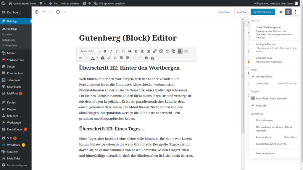 Screenshot WordPress Gutenberg Block Editor Ebenen